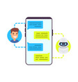 man chatting with chat bot vector image