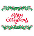 merry christmas red calligraphy lettering text and vector image vector image
