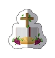 middle shadow sticker colorful with holy bible vector image vector image