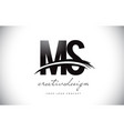 ms m s letter logo design with swoosh and black vector image vector image
