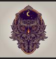 night owl predator with frame ornaments swirl vector image
