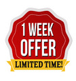 one week offer label or sticker vector image vector image