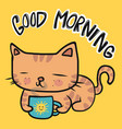 orange tabcat with good morning coffee cup vector image vector image