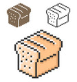 pixel icon bread brick in three variants fully vector image
