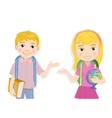 portrait of cute schoolboy and schoolgirl greeting vector image vector image