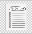 realistic paper note to do list icon with hand vector image