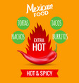 red chili pepper mexican food hot taco vector image vector image
