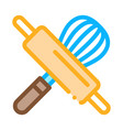 rolling pin and manual mixer icon thin line vector image vector image