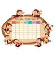 school timetable with monkeys vector image