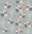 seamless pattern hedgehogs with floral elements vector image