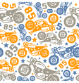 Seamless pattern with motorcycles drawings vector image vector image