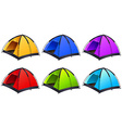 Set of different coloured tents vector image vector image