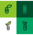 set of modern line logo mark templates of sprout vector image
