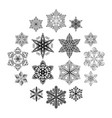 snowflake black set vector image vector image
