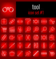 tool icon set 1 white line icon on red gradient vector image