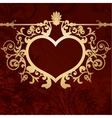 Vintage valentine background with golden heart vector image vector image
