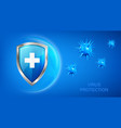 virus protection banner with shield and bacteria vector image