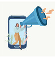 woman with megaphone speaking out of the screen vector image vector image