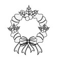 wreath with red ribbon and bow christmas related vector image vector image