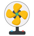 yellow fan on white background vector image vector image
