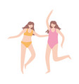 young girls with swimsuits characters cartoon vector image