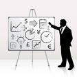Businessman presenting on whiteboard vector image
