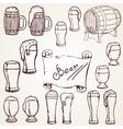 set sketches of beer vector image
