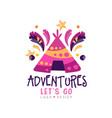 adventures lets go logo design summer vacation vector image
