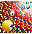 Bingo balls on coloured 3D mosaic background vector image vector image
