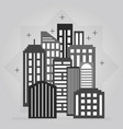 black and gray night downtown city skyline icon vector image