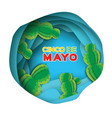 blue happy cinco de mayo greeting card paper cut vector image