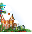 Brick cottage with pine branches vector image vector image