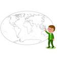 businessman showing on worldmap vector image