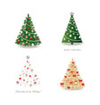 christmas tree decorated set realistic golden vector image