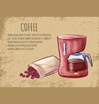 coffee postcard kettle and beans java vector image vector image