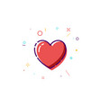 concept heart icon thin line flat heart design vector image vector image