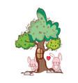 cute animals bunnies tree foliage nature vector image