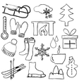 doodle winter pictures vector image vector image