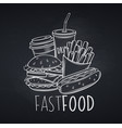 fast food icon chalkboard style vector image