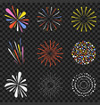 festive fireworks isolated on transparent vector image vector image