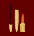 flat shading style icon mascara and lipstick vector image