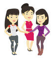group of business women joining hands vector image vector image