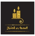 Halloween gold textured candle icon vector image vector image