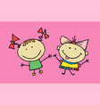 hand drawn beautiful cute little girls best vector image