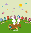 Happy easter eggs ground round background vector image vector image