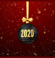 happy new year 2020 greeting card with snowfall vector image vector image