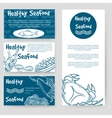 Healthy seafood flyer and cards design vector image