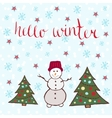 Hello winter card Dancing snowman with new year vector image vector image