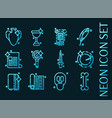 history set icons blue glowing neon style vector image