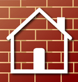 House icon with brick wall vector image vector image